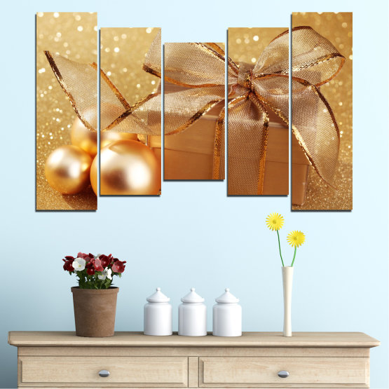 Canvas prints & wall decorative panels - 5 pieces №0408 » Green, Orange, Brown, Beige » Gift, Christmas, Holiday Form #4