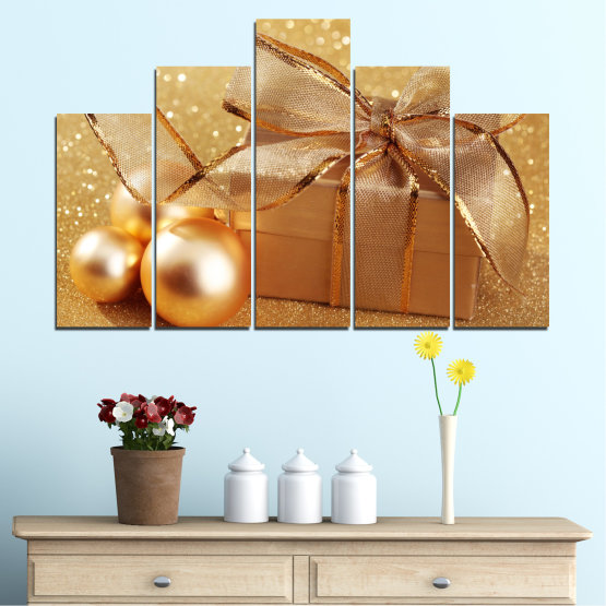 Canvas prints & wall decorative panels - 5 pieces №0408 » Green, Orange, Brown, Beige » Gift, Christmas, Holiday Form #5