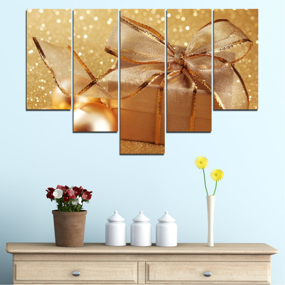 Canvas prints & wall decorative panels - 5 pieces №0408 » Green, Orange, Brown, Beige » Gift, Christmas, Holiday Form #6