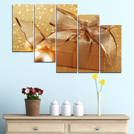 Canvas prints & wall decorative panels - 5 pieces №0408 » Green, Orange, Brown, Beige » Gift, Christmas, Holiday Form #7