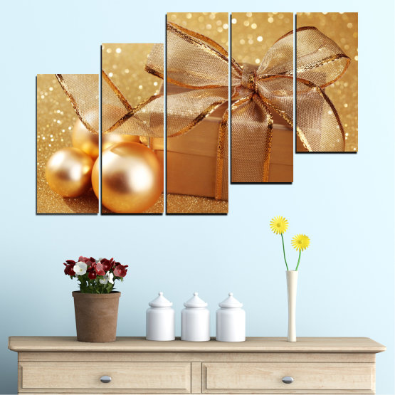 Canvas prints & wall decorative panels - 5 pieces №0408 » Green, Orange, Brown, Beige » Gift, Christmas, Holiday Form #8