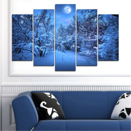 Landscape, Night, Moon, Snow, Winter » Blue, Turquoise, Black, Dark grey