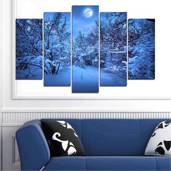 Canvas prints & wall decorative panels - 5 pieces №0409 » Blue, Turquoise, Black, Dark grey » Landscape, Moon, Night, Snow, Winter Form #1