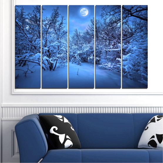 Canvas prints & wall decorative panels - 5 pieces №0409 » Blue, Turquoise, Black, Dark grey » Landscape, Moon, Night, Snow, Winter Form #2
