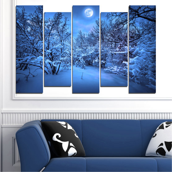 Canvas prints & wall decorative panels - 5 pieces №0409 » Blue, Turquoise, Black, Dark grey » Landscape, Moon, Night, Snow, Winter Form #3