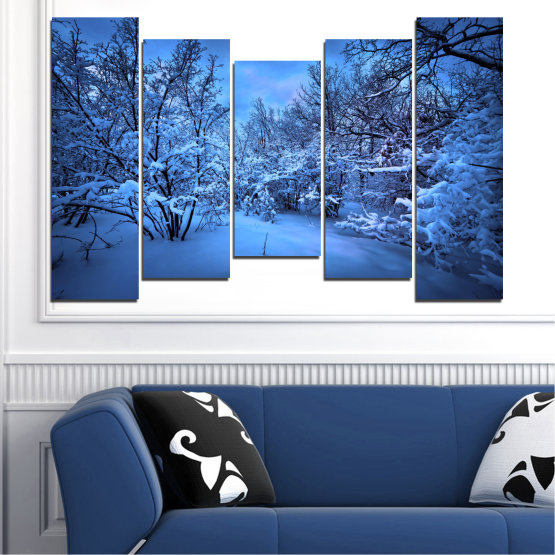 Canvas prints & wall decorative panels - 5 pieces №0409 » Blue, Turquoise, Black, Dark grey » Landscape, Moon, Night, Snow, Winter Form #4