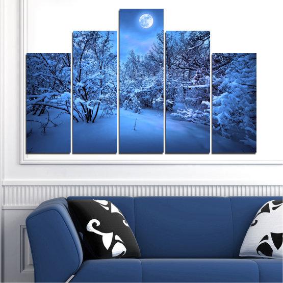Canvas prints & wall decorative panels - 5 pieces №0409 » Blue, Turquoise, Black, Dark grey » Landscape, Moon, Night, Snow, Winter Form #5
