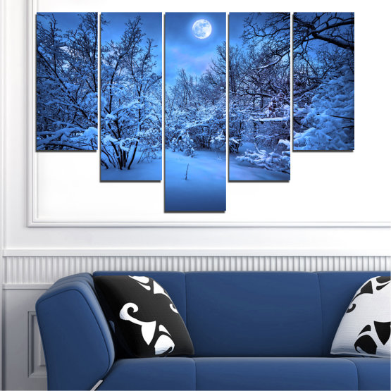 Canvas prints & wall decorative panels - 5 pieces №0409 » Blue, Turquoise, Black, Dark grey » Landscape, Moon, Night, Snow, Winter Form #6