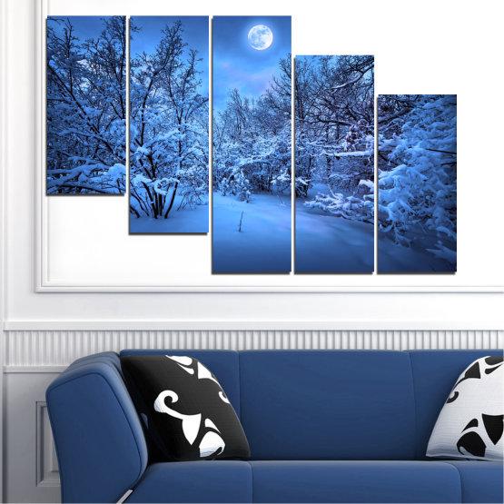Canvas prints & wall decorative panels - 5 pieces №0409 » Blue, Turquoise, Black, Dark grey » Landscape, Moon, Night, Snow, Winter Form #7