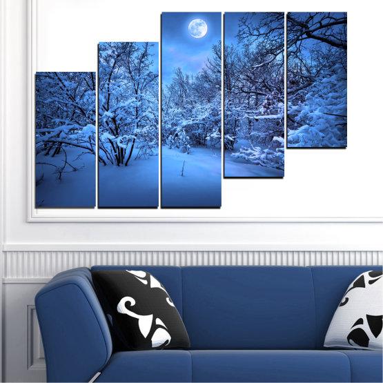 Canvas prints & wall decorative panels - 5 pieces №0409 » Blue, Turquoise, Black, Dark grey » Landscape, Moon, Night, Snow, Winter Form #8