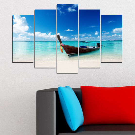 Canvas prints & wall decorative panels - 5 pieces №0041 » Blue, Turquoise, Gray, White » Water, Sea, Sky, Sand, Boat Form #1