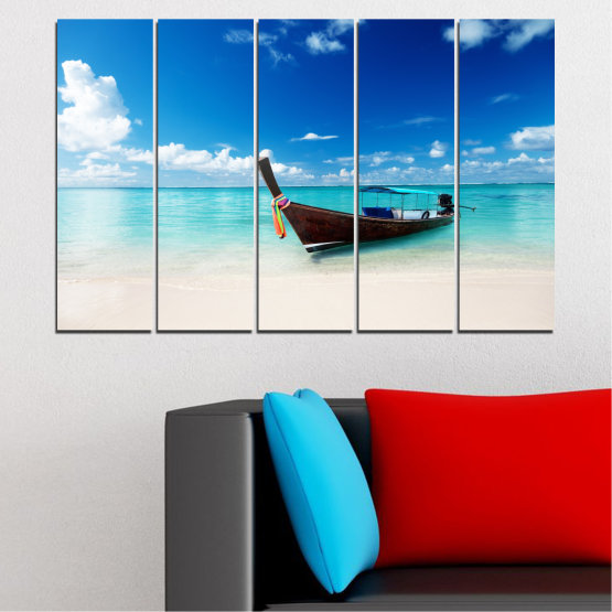 Canvas prints & wall decorative panels - 5 pieces №0041 » Blue, Turquoise, Gray, White » Sea, Water, Sky, Sand, Boat Form #2