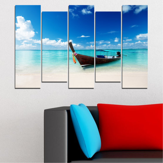 Canvas prints & wall decorative panels - 5 pieces №0041 » Blue, Turquoise, Gray, White » Sea, Water, Sky, Sand, Boat Form #3