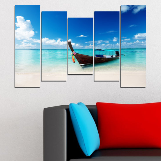 Canvas prints & wall decorative panels - 5 pieces №0041 » Blue, Turquoise, Gray, White » Water, Sea, Sky, Sand, Boat Form #4