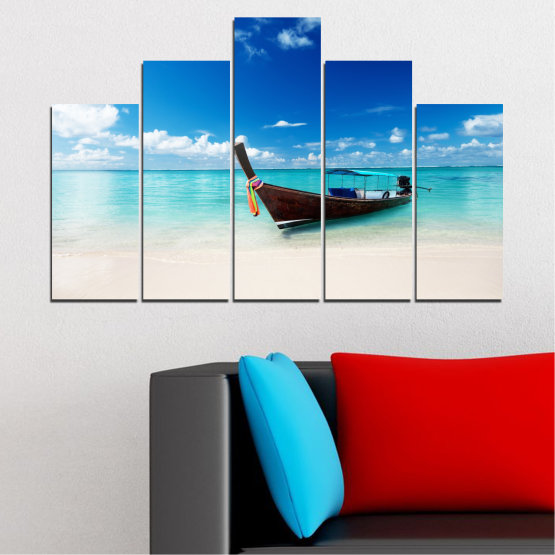 Canvas prints & wall decorative panels - 5 pieces №0041 » Blue, Turquoise, Gray, White » Sea, Water, Sky, Sand, Boat Form #5