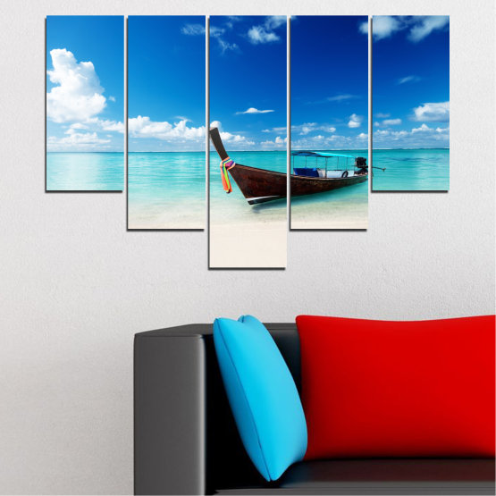 Canvas prints & wall decorative panels - 5 pieces №0041 » Blue, Turquoise, Gray, White » Sea, Water, Sky, Sand, Boat Form #6