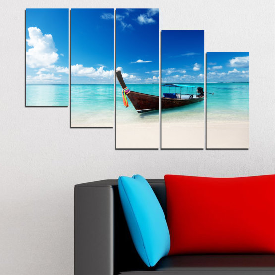 Canvas prints & wall decorative panels - 5 pieces №0041 » Blue, Turquoise, Gray, White » Sea, Water, Sky, Sand, Boat Form #7