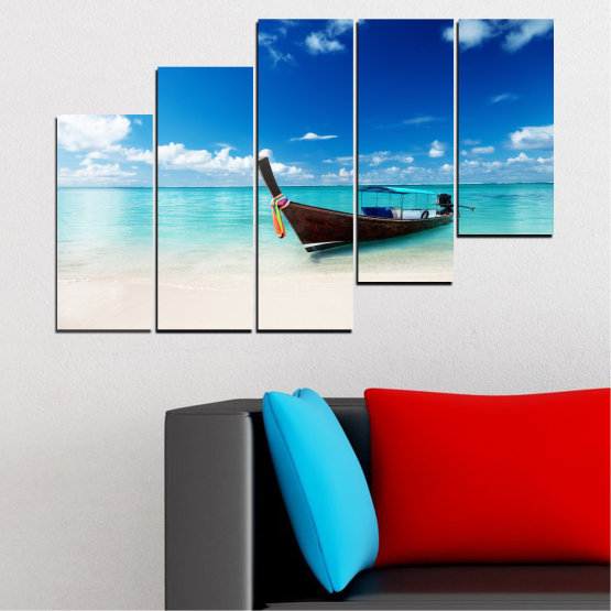 Canvas prints & wall decorative panels - 5 pieces №0041 » Blue, Turquoise, Gray, White » Sea, Water, Sky, Sand, Boat Form #8