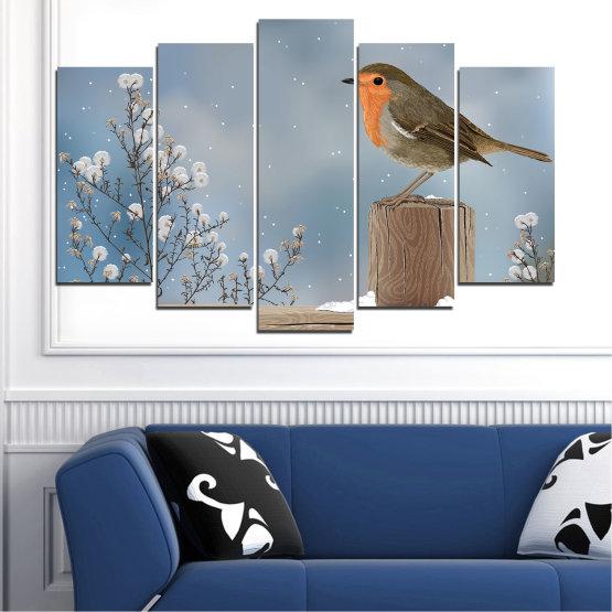 Декоративни панели и картини от канава - от 5 части №0410 » Кафяв, Сив, Тъмно сив » Птици, Сняг, Зима Form #1