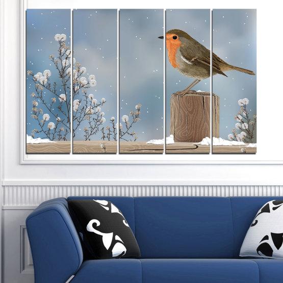 Декоративни панели и картини от канава - от 5 части №0410 » Кафяв, Сив, Тъмно сив » Птици, Сняг, Зима Form #2