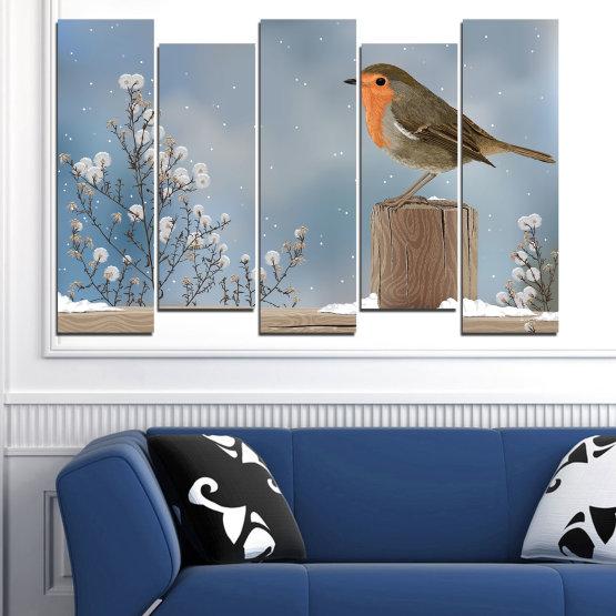 Декоративни панели и картини от канава - от 5 части №0410 » Кафяв, Сив, Тъмно сив » Птици, Сняг, Зима Form #3