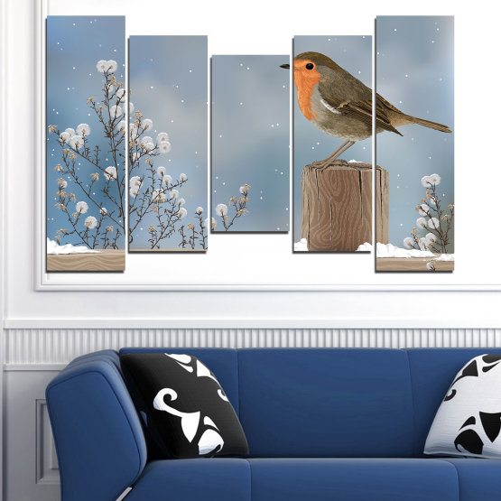 Декоративни панели и картини от канава - от 5 части №0410 » Кафяв, Сив, Тъмно сив » Птици, Сняг, Зима Form #4