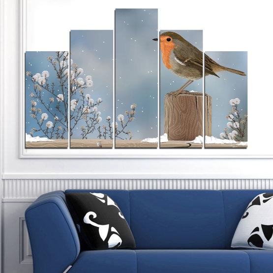 Декоративни панели и картини от канава - от 5 части №0410 » Кафяв, Сив, Тъмно сив » Птици, Сняг, Зима Form #5