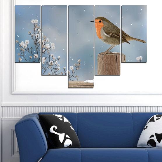 Декоративни панели и картини от канава - от 5 части №0410 » Кафяв, Сив, Тъмно сив » Птици, Сняг, Зима Form #6