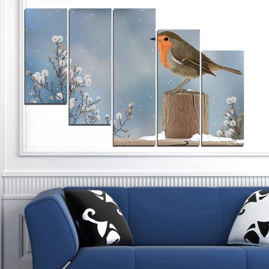 Декоративни панели и картини от канава - от 5 части №0410 » Кафяв, Сив, Тъмно сив » Птици, Сняг, Зима Form #7