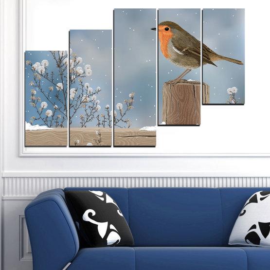 Декоративни панели и картини от канава - от 5 части №0410 » Кафяв, Сив, Тъмно сив » Птици, Сняг, Зима Form #8