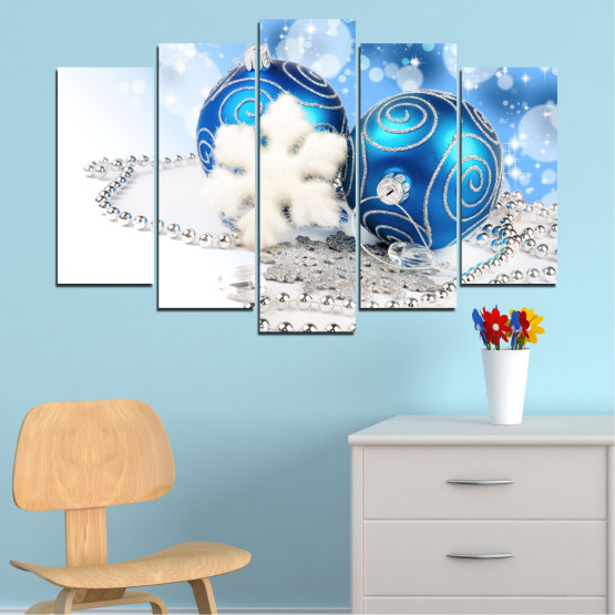 Canvas prints & wall decorative panels - 5 pieces №0411 » Turquoise, Gray, White » Decoration, Christmas, Holiday Form #1