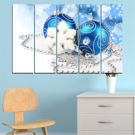 Canvas prints & wall decorative panels - 5 pieces №0411 » Turquoise, Gray, White » Decoration, Christmas, Holiday Form #2