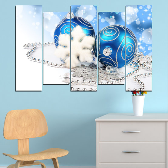 Canvas prints & wall decorative panels - 5 pieces №0411 » Turquoise, Gray, White » Decoration, Christmas, Holiday Form #3