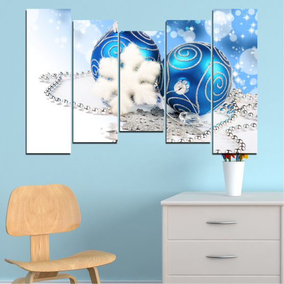 Canvas prints & wall decorative panels - 5 pieces №0411 » Turquoise, Gray, White » Decoration, Christmas, Holiday Form #4
