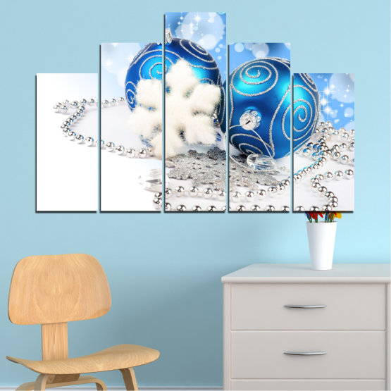 Canvas prints & wall decorative panels - 5 pieces №0411 » Turquoise, Gray, White » Decoration, Christmas, Holiday Form #5