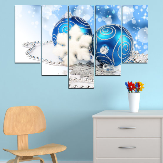 Canvas prints & wall decorative panels - 5 pieces №0411 » Turquoise, Gray, White » Decoration, Christmas, Holiday Form #6