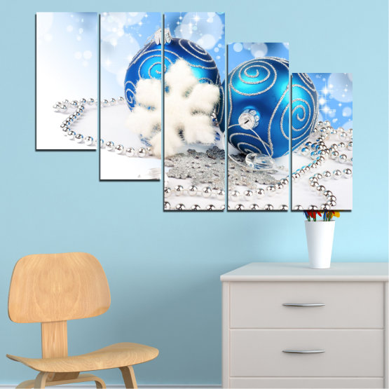 Canvas prints & wall decorative panels - 5 pieces №0411 » Turquoise, Gray, White » Decoration, Christmas, Holiday Form #7