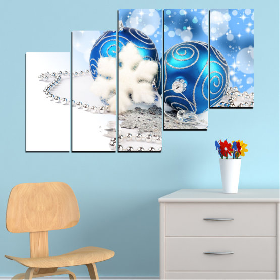 Canvas prints & wall decorative panels - 5 pieces №0411 » Turquoise, Gray, White » Decoration, Christmas, Holiday Form #8