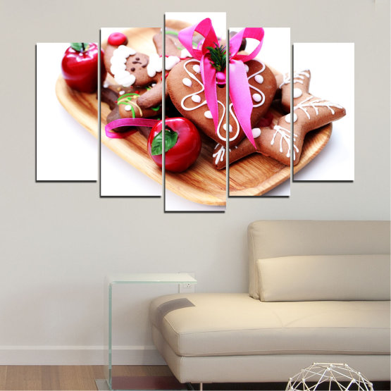 Canvas prints & wall decorative panels - 5 pieces №0412 » Red, Pink, Orange, White, Beige » Coockie, Christmas, Pastry, Holiday Form #1