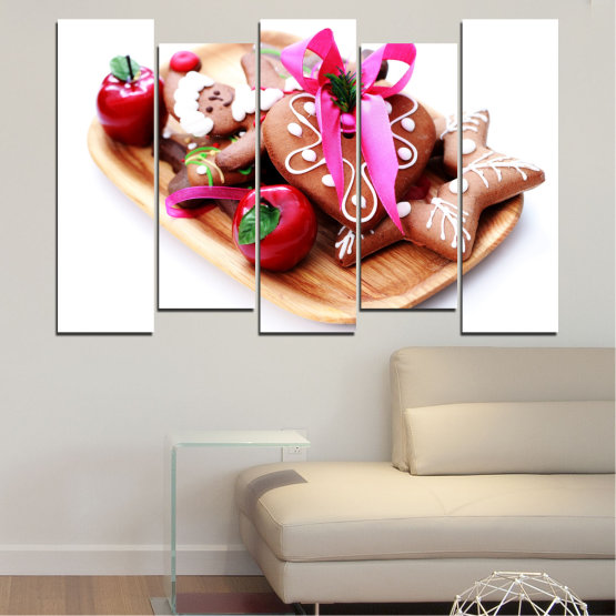 Canvas prints & wall decorative panels - 5 pieces №0412 » Red, Pink, Orange, White, Beige » Coockie, Christmas, Pastry, Holiday Form #3
