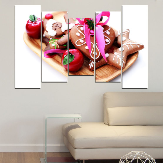 Canvas prints & wall decorative panels - 5 pieces №0412 » Red, Pink, Orange, White, Beige » Coockie, Christmas, Pastry, Holiday Form #4