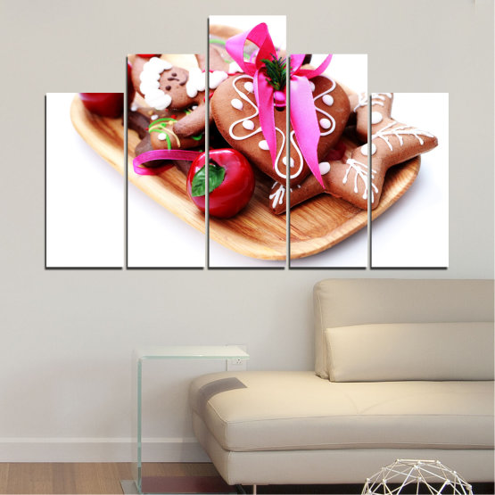 Canvas prints & wall decorative panels - 5 pieces №0412 » Red, Pink, Orange, White, Beige » Coockie, Christmas, Pastry, Holiday Form #5