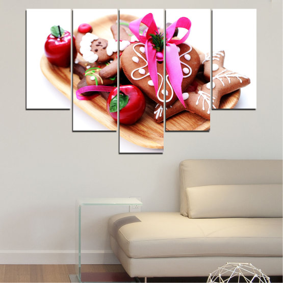 Canvas prints & wall decorative panels - 5 pieces №0412 » Red, Pink, Orange, White, Beige » Coockie, Christmas, Pastry, Holiday Form #6
