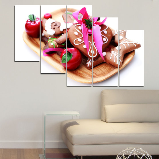 Canvas prints & wall decorative panels - 5 pieces №0412 » Red, Pink, Orange, White, Beige » Coockie, Christmas, Pastry, Holiday Form #7