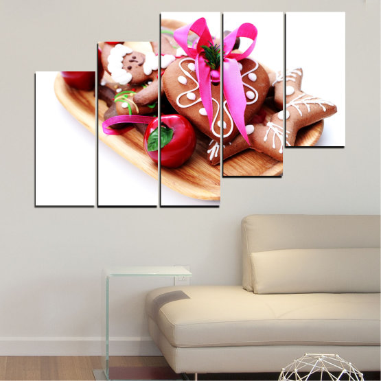 Canvas prints & wall decorative panels - 5 pieces №0412 » Red, Pink, Orange, White, Beige » Coockie, Christmas, Pastry, Holiday Form #8