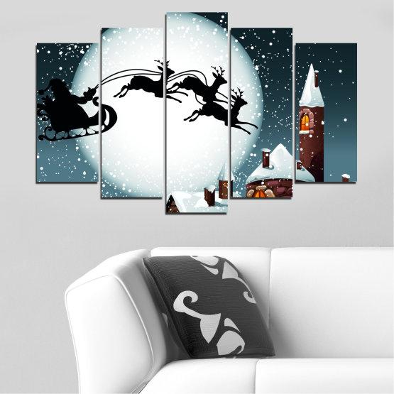 Декоративни панели и картини от канава - от 5 части №0413 » Лилав, Черен, Сив, Бял, Тъмно сив » Нощ, Сняг, Къща, Зима, Дядо коледа, Коледа, Празник, Шейна Form #1