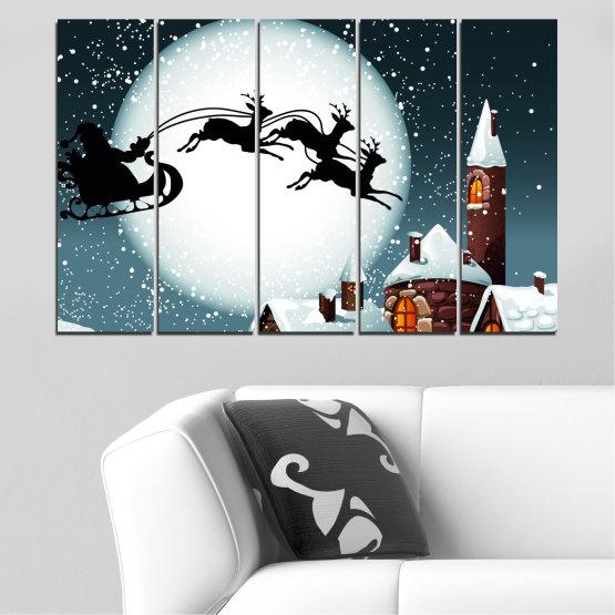 Декоративни панели и картини от канава - от 5 части №0413 » Лилав, Черен, Сив, Бял, Тъмно сив » Нощ, Сняг, Къща, Зима, Дядо коледа, Коледа, Празник, Шейна Form #2
