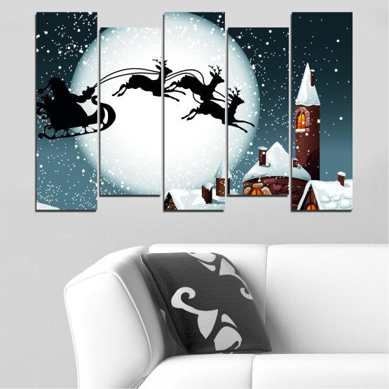 Декоративни панели и картини от канава - от 5 части №0413 » Лилав, Черен, Сив, Бял, Тъмно сив » Нощ, Сняг, Къща, Зима, Дядо коледа, Коледа, Празник, Шейна Form #3