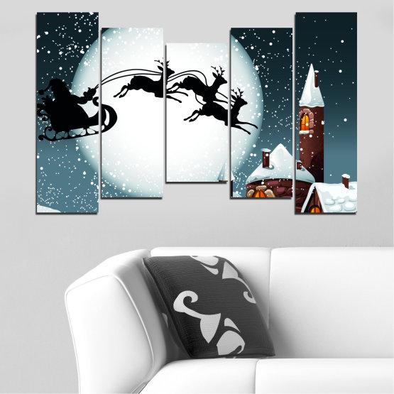 Декоративни панели и картини от канава - от 5 части №0413 » Лилав, Черен, Сив, Бял, Тъмно сив » Нощ, Сняг, Къща, Зима, Дядо коледа, Коледа, Празник, Шейна Form #4