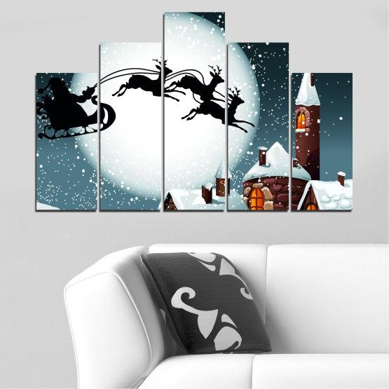 Декоративни панели и картини от канава - от 5 части №0413 » Лилав, Черен, Сив, Бял, Тъмно сив » Нощ, Сняг, Къща, Зима, Дядо коледа, Коледа, Празник, Шейна Form #5